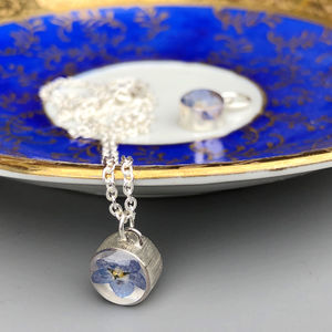 Forget Me Not Sterling Silver Resin Necklace