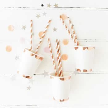 Rose Gold Foil Stripe Party Straws