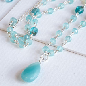 Amazonite Boho Gemstone Long Chain Necklace - necklaces & pendants