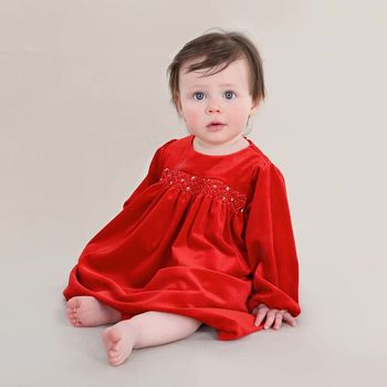 Girls French Designer Traditional Velveteen Smock Dress
