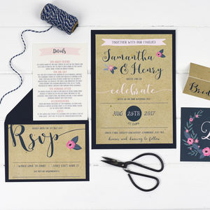 Floral Kraft Wedding Invitation Set