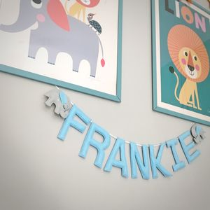 Personalised Felt Elephant Name Garland