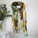 'Dune Grasses' In Mustard 100% Wool Voile Scarf Wrap