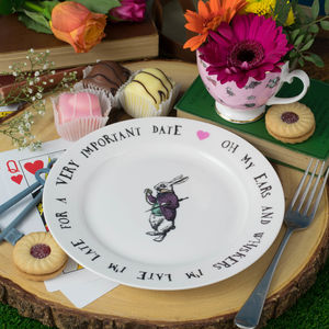 White Rabbit Alice In Wonderland Tea Plate