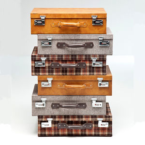 Tartan Suitcase Drawer Tower - living room