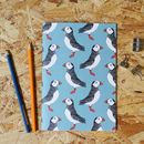 A5 Green Puffin Notebook With Blank Pages
