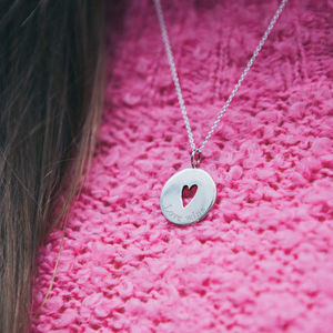Engraved Disc Pendant With Cut Out Heart Detail - best valentine's gifts for her