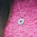 Engraved Disc Pendant With Cut Out Heart Detail