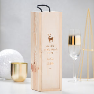 Personalised Christmas Wine Bottle Box