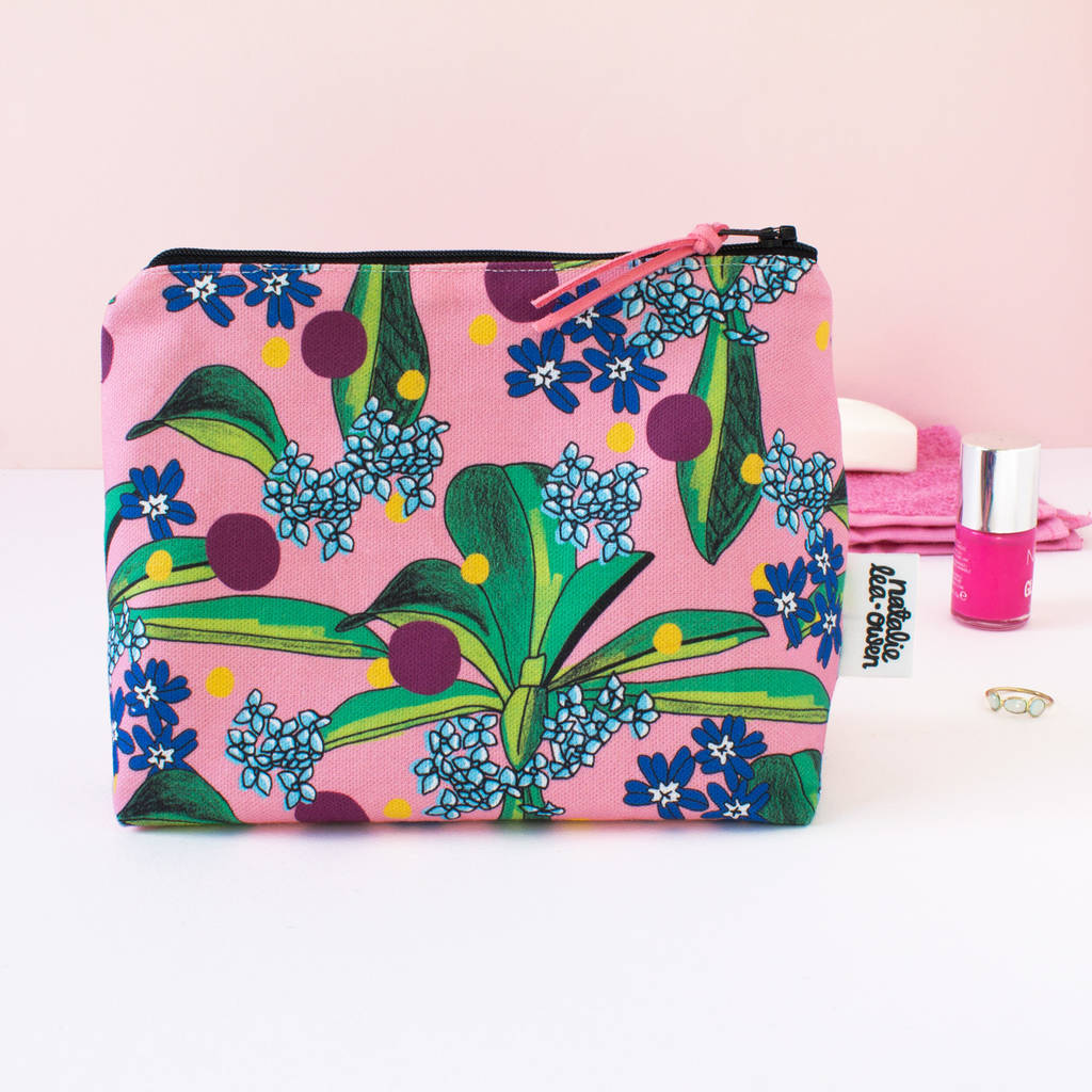 Makeup Bag In Palms Botanical Print