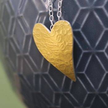Golden Watercolour Blossom Heart Pendant
