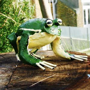 Recycled Green Frog Garden Sculpture
