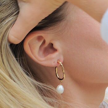 Hoop Pearl Earrings