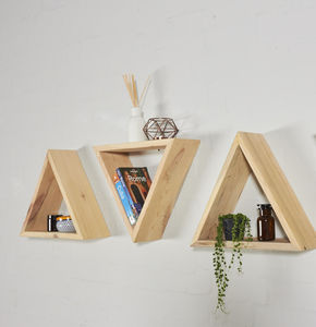 Reclaimed Industrial Pallet Geometric Triangle Shelves - kitchen
