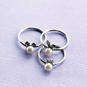 Sterling Silver Bunny, Cat And Mouse Pearl Rings - rings