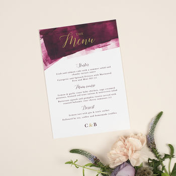 Berry And Gold 'Grace' Wedding Menu Cards