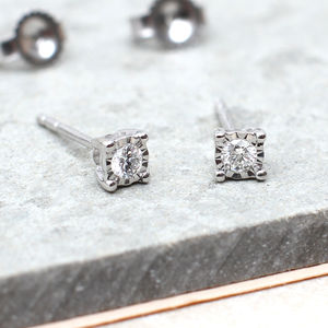 Diamond And 18ct White Gold Stud Earrings