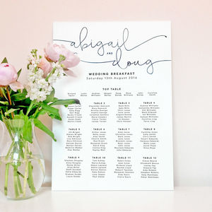 Kate Wedding Table Plan - wedding stationery