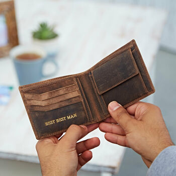 Personalised Best Man Buffalo Leather Wallet