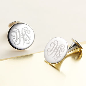 Monogram Silver Cufflinks - 40th birthday gifts