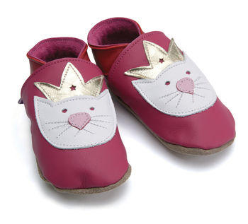 Girls Soft Leather Baby Shoes Princess Paws Fuchsia