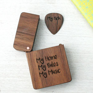 Personalised Wooden Engraved Plectrum And Plectrum Box - men's accessories