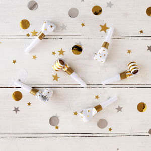 Gold And White Party Blowers - christmas entertaining