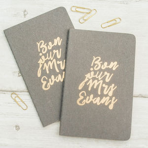 Mr And Mrs Wedding Personalised Notebook - gifts for couples