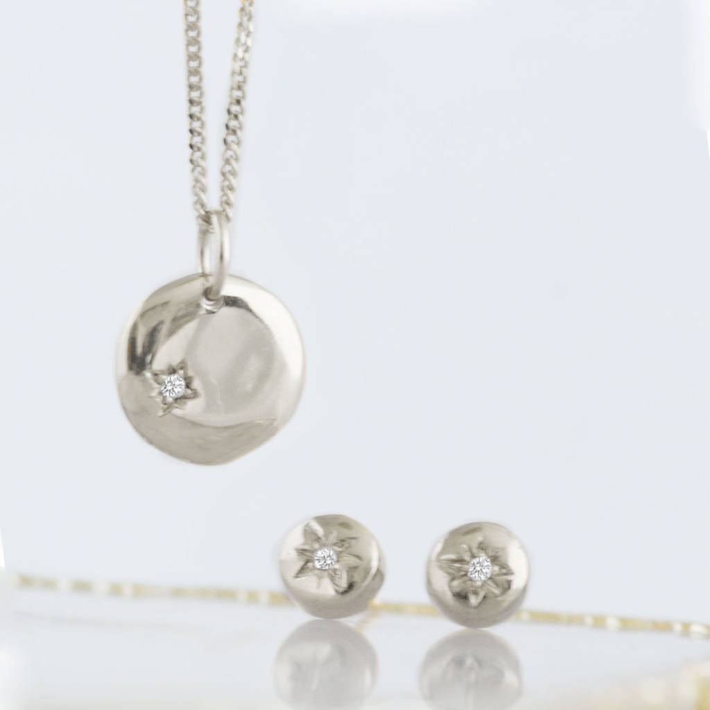 Silver Diamond North Star Disc Necklace And Earring Set