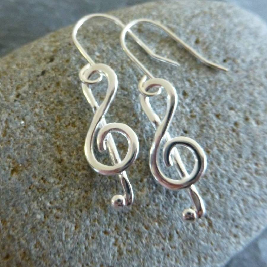 Sterling Silver Treble Clef Musical Note Earrings
