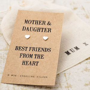 Mother And Daughter Message Silver Earrings