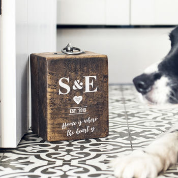 Personalised Couples Initials Wood Doorstop