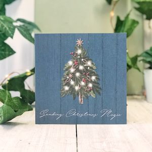 Blue Country Christmas Magic Botanical Greeting Card - new in christmas