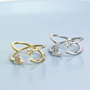 Crescent Moon And Star Crossover Open Ring