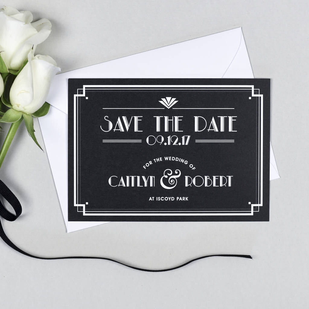 Art Deco Style Save The Date Invitation By Project Pretty