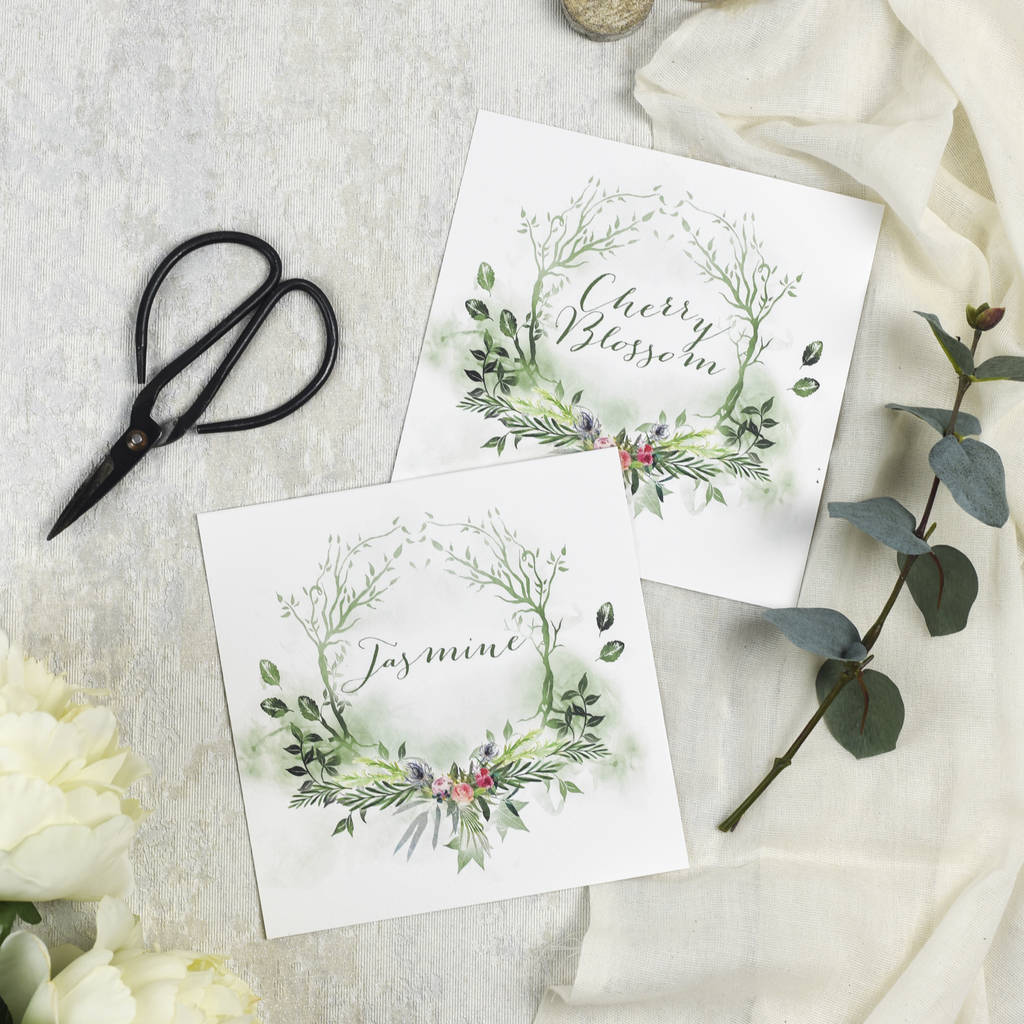 woodland wedding table names by julia eastwood | notonthehighstreet.com
