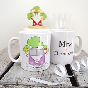 Personalised Mrs And Mrs Wedding Day Mug Set