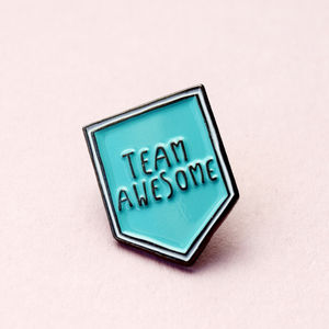 20mm Couples/Bff Team Awesome Enamel Pin Brooch - stocking fillers