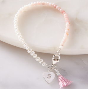 Personalised Mini Pearl And Pink Opal Bracelet - bracelets & bangles