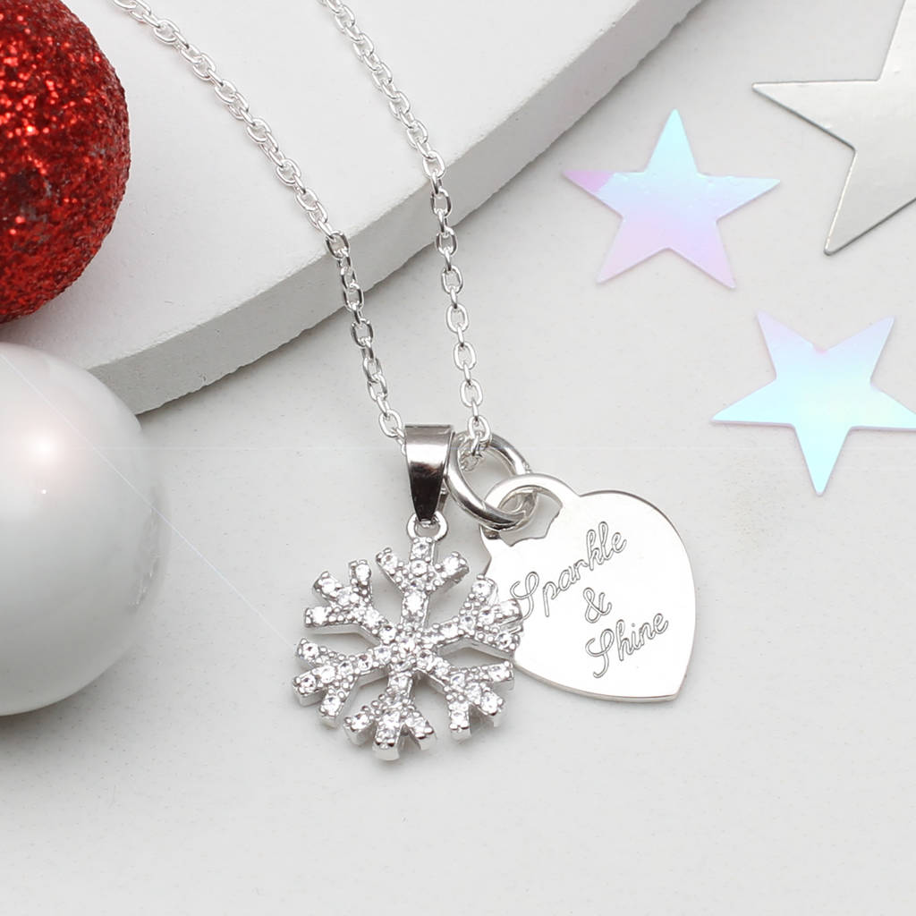 Personalised Christmas Silver Snowflake Necklace
