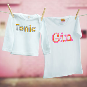 Gin And Tonic Matching T Shirts For Mum And Child - tops & t-shirts