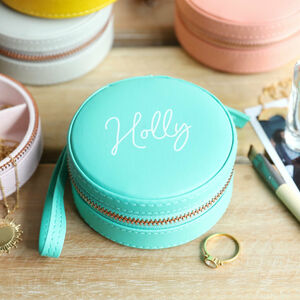 Personalised Mini Round Travel Jewellery Case