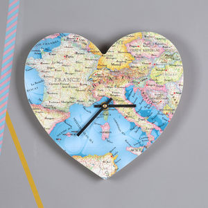 Personalised Map Location Heart Wall Clock Wedding Gift - clocks