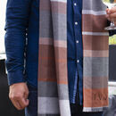 Men's Personalised Cashmere And Wool Plaid Scarf