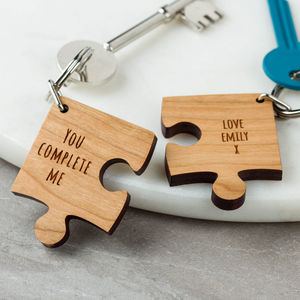Personalised Wooden Gift Missing Piece Jigsaw Keyring - valentine's gifts for her