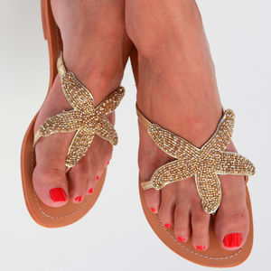 Gold Starfish Beaded Flat Leather Sandals - women's fashion