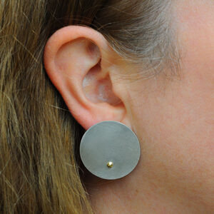 Large Silver Disc With Gold Ball Stud Earrings