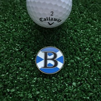 Personalised Initial Scotland Flag Golf Ball Marker