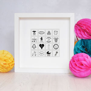Personalised Illustrated New Baby Tile Frame