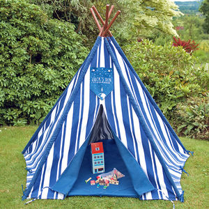 Personalised Children's Striped Teepee Tent - tents, dens & teepees